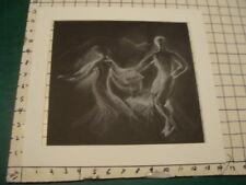 Vintage original LESLIE SNOW (Feron) Art -- DANCING on two papers, in chalk