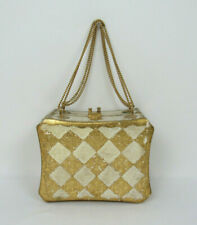 VTG 1940s 50s DELILL OF ITALY WOODEN BOX PURSE GOLDEN CHAIN HANDLES DISTRESSED
