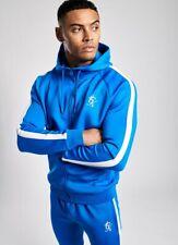 Gym King Mens New Long Sleeve Full Zip Poly Tracksuit Top Hoodie Basis Sea Blue