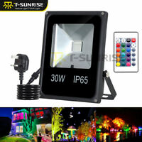 30W RGB LED Flood Light Spotlight 16 Colour Changing Garden Yard Outdoor Lamp UK
