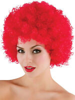 Red Stylish Curly Afro Wig Clown 70s Disco Style Unisex Fancy Dress Party