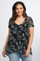 Torrid Womens Babydoll Top Blouse 00 Medium/Large 10 Black Floral Lace  (GGG7)