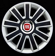 """Set COMPLETO ARGENTO / NERO 14 """"copricerchi, HUBCAPS per adattarsi FIAT 500"""