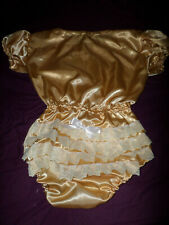 """ADULT BABY SISSY all-in-one GOLD SATIN ROMPER SUIT 42"""" CHEST SLEEPSUIT LACE BACK"""