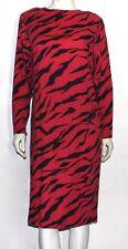 HANAE MORI vintage pink zebra animal print wool dress 12