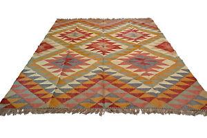 Large Kilim Rug Wool Jute Indian 240x300cm 8x10' Kelim Brown Handmade AFGAN