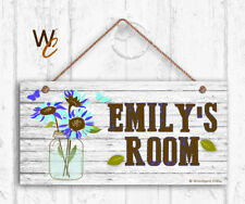 Blue Flowers & Mason Jar Sign, Personalized Kids Door Sign, Kids Name, 5x10 Sign