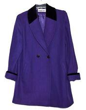 Leslie Fay Purple Wool & Black Velvet Collar & Cuff Edge Womens Jacket Sz 12 USA