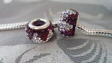 925 Silver core~Hand crafted Big Hole bead~Charm~ crystal~ Charm Bracelets~