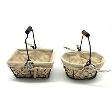 Country Chicken Wire Small Gifts Baskets Gathering Baskets Cotton Liner Set of 2