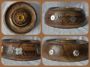 Round Wooden Decorative Incense Stick Cone plate holder burner ash catcher joss
