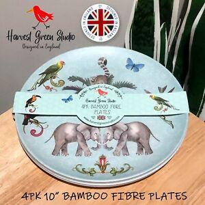 "4PK New STUDIO GREEN STUDIO 10"" Bamboo Fibre Plates Elephant Bird Safari Animals"