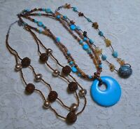 VINTAGE TO NOW MULTI STRAND BROWN & BLUE STONE BEADED BOHO NECKLACE LOT