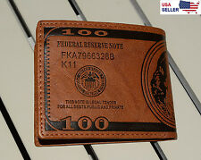 New BENJAMIN FRANKLIN $100 Dollar Bill Wallet for MEN, Brown