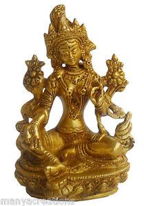 Goddess Green Tara Brass Metal Statue Buddhist Golden Rare Home Decor Art #246