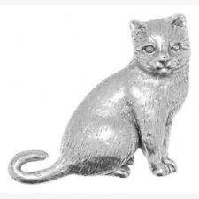 British Cat Handcrafted  English Pewter Tie Pin Coat Badge