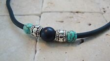 Men's Surfer Turquoise Bead Black Necklace choker 18 Inches