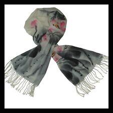 Etole Fine, Echarpe,  100 % Laine - Ecru, Gris Noir, Rose, motif floral, neuf