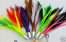 5 Pack of Rigged Mini Feathers Trolling Lures. Top Tuna, Tailor, Mackeral Lures