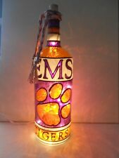 Clemson Tigers Inspired Bottle Lamp Handpainted Lighted Stained Glass Look