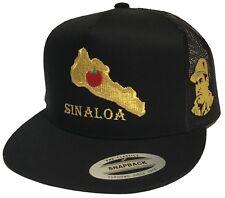 EL MAPA DE SINALOA Y EL CHAPO GUZMAN GOLD MEXICO  HAT 3 LOGOS  BLACK MESH