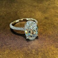 3Ct Oval Cut Diamond Solitaire Engagement Wedding Ring 14K Yellow Gold Over