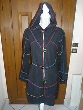 COLINE Manteau capuche taille M 38/40 noir surpiqûres colorées polaire