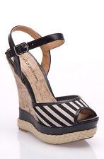 Wild Diva Moritica-09 Pin-Up Nautical Stripe Platform Peep-Toe Sandal Wedges