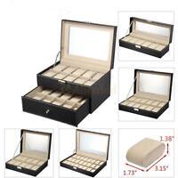 6/10/12/20/24 Slots Men Women Watch Box Top Jewelry Storage Display Durable Case