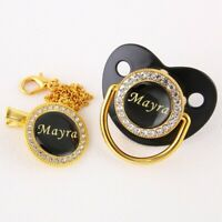 Personalized Baby Pacifier & Clip BPA Free Dummy Bling Unique Any Name Can Make