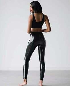 Women's Black Wet Look Commando Classic Faux Patent Leather Legging UK 8 - 18