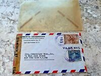 Vintage Postage Envelope 1943 - Salvador to New York City - Rare Marks/Stamps