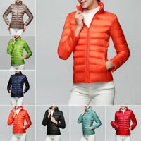 Vogue Winter Ladies Duck Down Puffer Jacket Coat Ultralight Solid Color Outwear