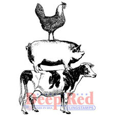 Deep Red Stamps Farm Animal Stack Rubber Cling Stamp