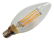 4 x E14 SES 240V 4W 350LM WARM WHITE LED FILAMENT RETRO DESIGN CANDLE BULBS ~40W