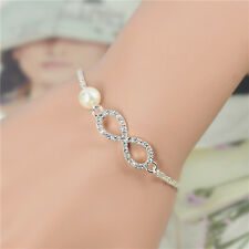 Infinity Bracelet New Heart Rhinestone Imitation Pearl Silver Plated Gift Charm