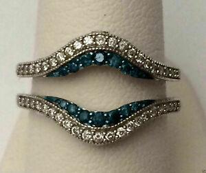 0.70Ct Solitaire Enhancer Blue White Diamond Ring Guard Wrap 14K White Gold Over