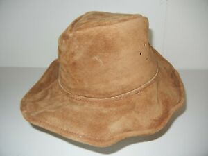 WALKABOUT Brown Leather WIDE BRIM SUN HAT Australian Hiking Bush Golf Cap Sz S 7