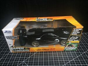 2017 Black Ford GT 1:16 Jada RC Car USB Hyper Chargers 2.4ghz Turbo Boost