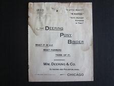 1893 Wm. DEERING Pony Binder Original Agricultural Illustrated Catalog