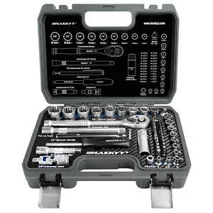 HASKYY® Gear-Lock Ratschenkasten Set 6- 12- Kant 1/4 & 3/8 Nuss Bits 4-19mm TORX