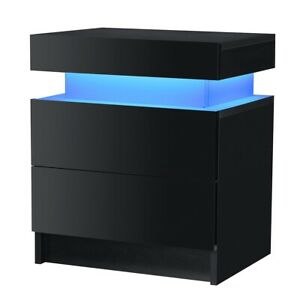 RGB LED Cabinet 3 Drawer Storage cupboard footwear stand rack wooden unit white