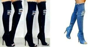 Women Thigh Boots with Zipper Blue Denim Jeans Super High Synthetic Rubber Peep
