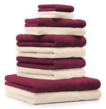 Betz Juego de 10 toallas PREMIUM 100% algodón rojo oscuro y beige