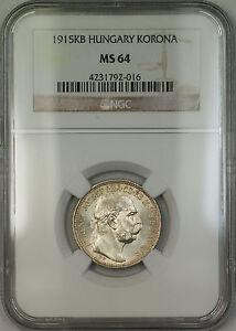 1915-KB Hungary Silver Korona Coin NGC MS-64 Lightly Toned (B)