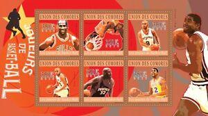Basketball O'Neal Jordan Parker Johnson Comores Comoros m/s Mi.2859-64 #CM10217a