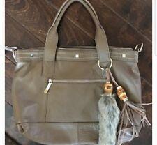 Cuore & Pelle Amelia Tan Leather Satchel Handbag Purse New Fur Tassel New