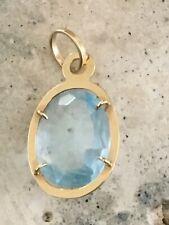 Blue Topaz Solid 14k Yellow Gold Gemstone Pendant Large