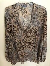 Roz & Ali Leopard Print Top Shirt Blouse Womens 2X  Gold Gunmetal Studs Accent