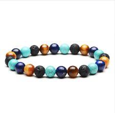 Natural Lava Rock Turquoise Lapis Lazuli Beaded Bracelet Natural Stone Chakra